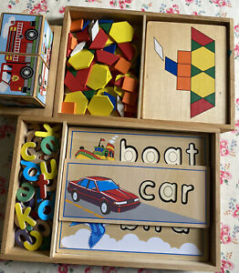Melissa And Doug Wooden See & Spell, Pattern Boards & Sound Blocks Toy Bundle