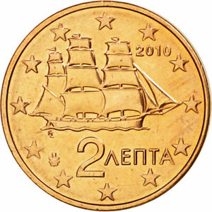 [#584170] Grèce, 2 Euro Cent, 2010, SPL, Copper Plated Steel, KM:182