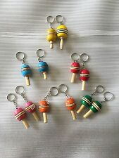 HAND MADE BALERO KEYCHAIN WHOLESALE SET , DOZEN ,  WOODEN KEYCHAINS ,CRAFTS GIFT