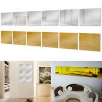6 PCS Squre Mirror Tile Wall Stickers Mosaic Room Makeup Home Decor 3D Adhesive