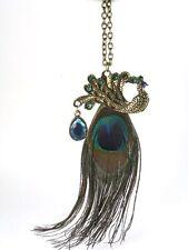 Halskette Pfau Pfauenkette Feder Kette Schmuck Anhänger Altgold Vintage NEU&OVP
