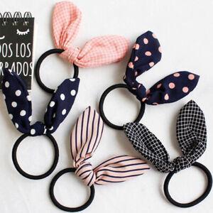 Girls/Women Bunny Ear Scrunchie Knot Elastic Hair Band Hair Tie Cute Hair Bow