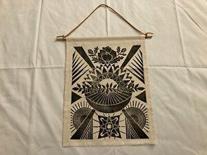 "Botanical Flower Sun Boho Hippie Wall Hanging Textile Block Print Art 9.5""x13"""