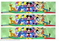 3 x MICKEY MOUSE BIRTHDAY CAKE EDIBLE RIBBON BORDER RICE WAFER PAPER & FREE POST