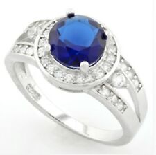 DIAMOND & SAPPHIRE HALO RING  ENGAGEMENT RING SILVER GENUINE   F- IF  2.34 CWT!!
