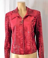 Joseph Ribkoff Zip Front Jacket Animal Print Red Shimmery Size US 14