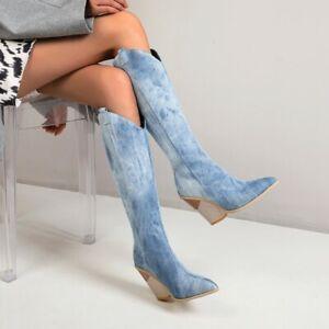 Women Denim Knee High Boots Retro Wedge Heel Pointed Toe Zip Long Boot Punk Shoe