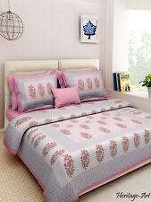 Indian Jaipur Sanganeri King Size New 100% Cotton Bed Sheet 2 Pillow Covers Set