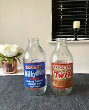 More details for 1980s vintage milkyway and twix advertisment glass milk bottles