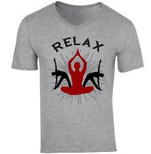 YOGA RELAX - NEW COTTON GREY V-NECK TSHIRT