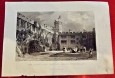 THE COURT YARD, NAWORTH CASTLE, CUMBERLAND, 1834 Angleterre