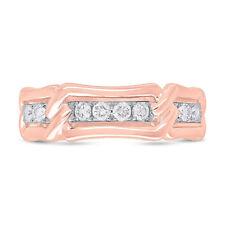 Mens .57CT 14K Rose Gold Natural Round Cut Diamond Braid Twist Wedding Band Ring