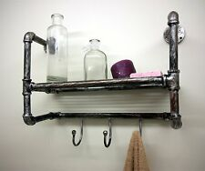 Wall Mounted Industrial Pipe Vintage Retro Style Metal Towel Hanging Hook Shelf