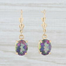 5ctw Mystic Topaz Dangle Earrings 14k Yellow Gold Oval Solitaire Drops