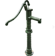 """Tall Shallow Well Pitcher Hand Water Pump With Faucet Cast Iron Green 55"""" Inch"""