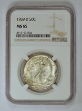 1939-D Uncirculated Walking Liberty Half Dollar Silver Coin Graded MS65 by NGC