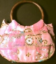 SARI BAG GLITTER PINK  VINTAGE BEADS EMBROIDERY FABRIC INDIA ANTIQUE WOOD HANDLE