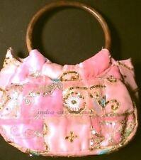 Sari Bag Glitter Vintage Bead Embroidered Fabric India Antique Wood Handle PINK