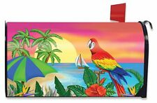 Paradise Parrot Summer Mailbox Cover Tropical Island Palms Sailboat Standard