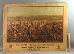 Antique Budweiser Advertising Lithograph Custers Last Stand Indian Calvary Sign