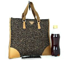 Auth PRADA Milano Wool Canvas & Brown Leather Tote Hand Bag Purse Italy Used