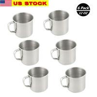 6 Pack Stainless Steel Coffee Soup Mug Tumbler Camping Mug Cup 12oz