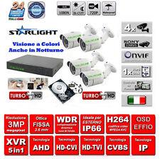 KIT VIDEOSORVEGLIANZA COLORE NOTTURNO DVR H264P + 4 3000TVL STARLIGHT+ HD + Alim