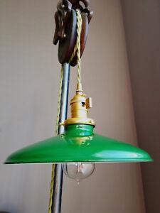"Green Porcelain Enamel Shade: 10"" Rounded Metal, 2-1/4"" fitter Benjamin Pendants"