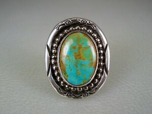 VINTAGE Carol Felley SOUTHWESTERN STERLING SILVER & TURQUOISE RING size 7