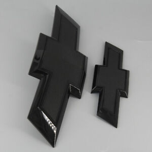 2015-2020 Suburban Tahoe Black Front Rear Tailgate Bowtie Emblem Set Badge OEM