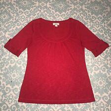 Women's Red Shirt Ann Taylor Loft, Rolled Hem on the Sleeves