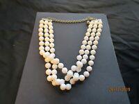 Vintage White 3 Strand Plastic Bead Choker Necklace 1960's