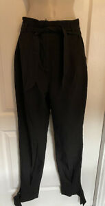 BOOHOO Black Maia woven tie tailored trousers high waisted - Size 8 TALL NEW