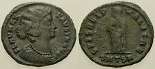 046. Roman Bronze Coin. FAUSTA. AE-Follis. Thessalonica. Empress w/Children. VF