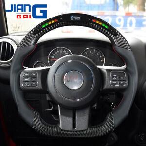 LED BLACK Carbon Fiber Steering Wheel Fit in JEEP Wrangler JK 2011-2017