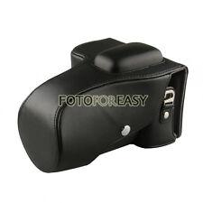 Schwarz Leder Kamera Tasche für Nikon D5100 D5200 DSLR 18-55mm/18-105mm Objektiv