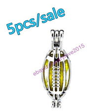 HY-K477 Silver 19mm American Football Rubgy Necklace Beads Pearl Cage Fit 8mm