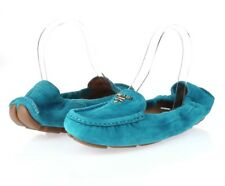 Womens PRADA turquoise suede loafers shoes sz. 36 NEW!