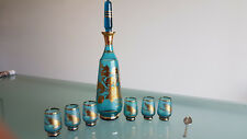 BOHENIA DECANTER 6 GLASSES, GOLD LEAF DECORATED. EXCEPTIONAL SET, PERFECT !