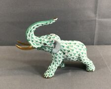 Herend Hungary Hand Painted Porcelain Green Fishnet Elephant Trunk Up Gold Tusks