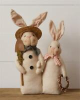 Primitive Country Easter Bunny Rabbit Couple Shovel Wreath Spring Tabletop