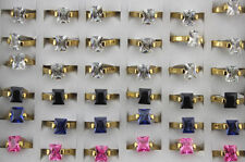 Wholesale Lots 30pcs Stainless steel Band Rings Gold P Charm CZ Ring Jewelry