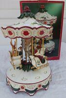 Home For The Holidays Porcelain Musical Carousel Reindeer Christmas Vintage 1999