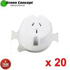 NEW 20 x Single Plug Base Surface Socket 10Amp White Outlet 5 YEAR WARRANTY