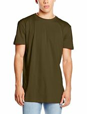 NEW LOOK MEN'S BASIC LONGLINE T-SHIRT GREEN  SIZE SMALL