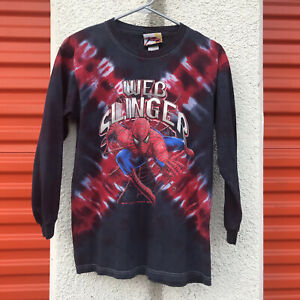 Original 2004 Spider Man 2 Tie Dye Shirt Web Slinger Long Sleeve Youth XL 2000s