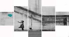 Extra Large Five Piece Set Banksy Teal Balloon Hope Graffiti Canvas Picture