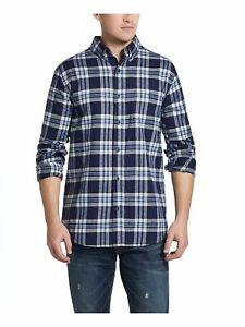 WEATHERPROOF VINTAGE Mens Blue Plaid Long Sleeve Classic Cotton Dress Shirt M