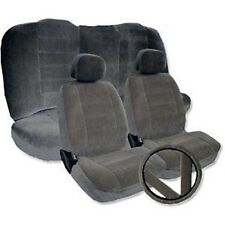 Solid GRAY Velour Low Back Cloth Seat Covers Fabric Steering Wheel Set CS2
