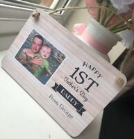 Personalised First Fathers Day Wooden Sign Plaque Daddy 1st Photo Gift